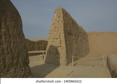 Large trapezoidal mud walls in the citadel of Chan Chan in La Libertad-PERU