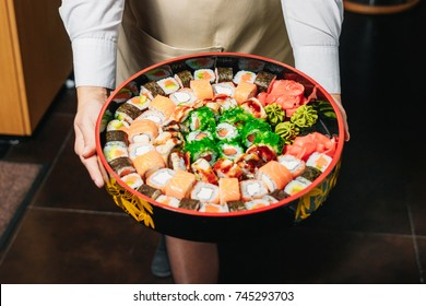 A large tray of sushi on New Year's party