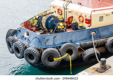 Large tugboat at harbor in St Kitts