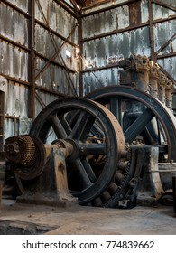 A large turbine engine remains at Humberstone. A ghost town in northern Chile. This machine was once used to power this town. It now stands as a reminder of how power was once generated.