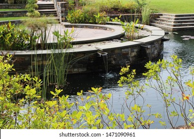 A large two tiered pond filled with various water lily pads and water plants with stone steps and patio in Durham, North Carolina, USA
