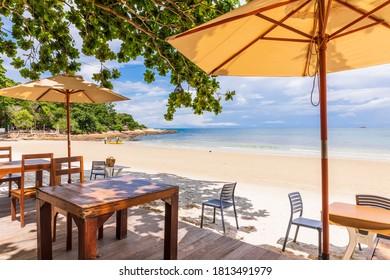 Large umbrella at the restaurant, Wong Duan beach ,Koh samet,Rayong,Thailand