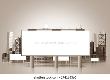 Large Urban Billboard and the City Skyline 3D Illustration. Advertising and Marketing Concept.