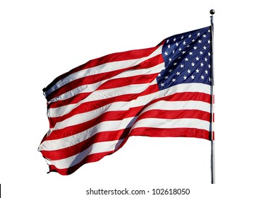 """Large U.S. Flag """"Old Glory"""" blowing in a strong wind - isolated on white background"""