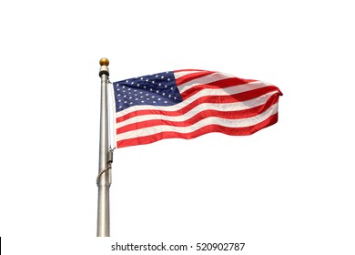 """Large U.S. Flag """"Old Glory"""" blowing in a wind isolated on white background"""