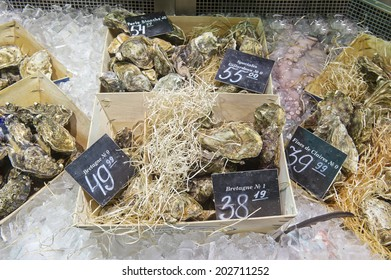 a large variety of oysters on the market
