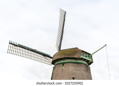 Large view on the old wooden windmill