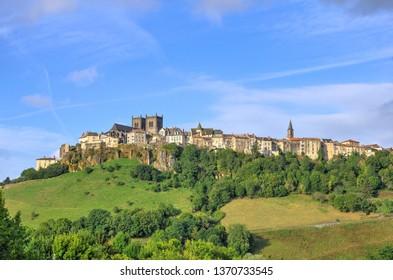 Large view on Saint-Flour medieval town - Cantal, Auvergne, France, Europe
