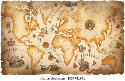 A large vintage, ancient world map, drawn by hand with dragons, sea monsters and ancient sailboats. Adventures and pirates,  ancient treasures and quests.
