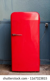 large vintage red fridge