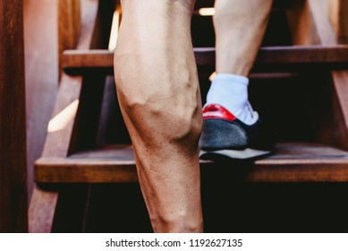 Large visible veins of calf muscles in a man leg.