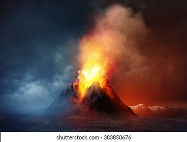 A large volcano erupting hot lava and gases into the atmosphere. 3D Illustration.