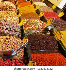 Large volumes of herbs and spices sold in the Grand Bazaar in Istanbul, Turkey for personal and resale