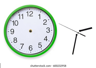 Large, wall, analog clock isolated on white background.