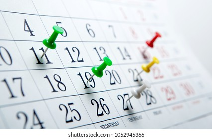 large wall calendar with number of days needles closeup