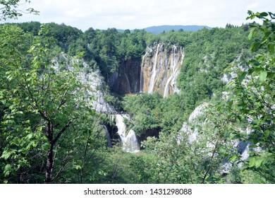 The large waterfall in Plitvice Lakes National Park (Nacionalni park Plitvicka jezera). Karlovac County, Croatia.