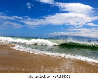 Large Waves Crashing on Kaanapali Beach in Maui, Hawaii