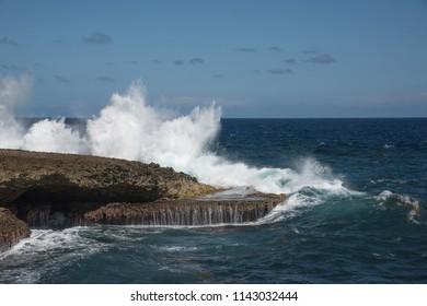 Large  waves crushing shore line at Shete Boka National Park, Curacao