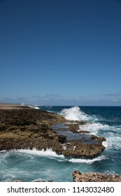 Large  waves crushing shore line at Shete Boka National Park, Curacao