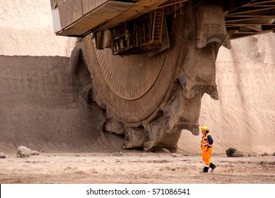 The large wheel of a bucket wheel excavator in a lignite quarry, Germany