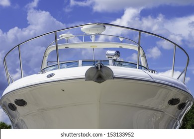 A large white boat shot of the front of the bow.