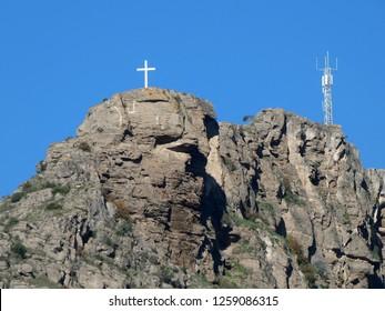 Large white cross on ElHacho mountain near Alora, Andalusia