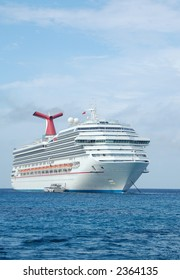 Large white cruise ship front view