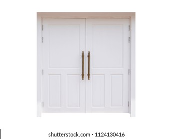 Large white door closed isolated on white background with clipping path