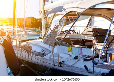large white modern motor superyacht in the port city of Rhodes Greece. depth of field and focus blur