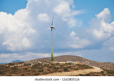The large wind turbine on the coast of the Greek island of Tilos on June 18, 2018. The island aims to become self sufficient in power through wind and solar panel technology.