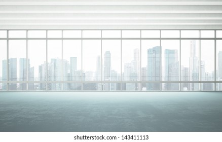 large window into white office