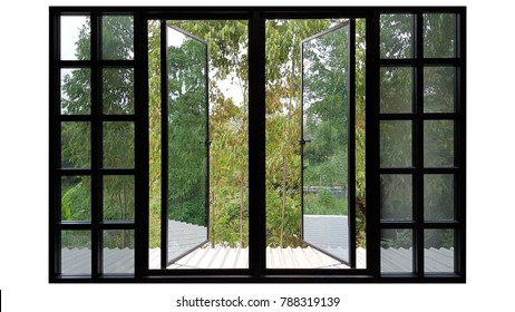 Large windows black aluminum swing doors nature view