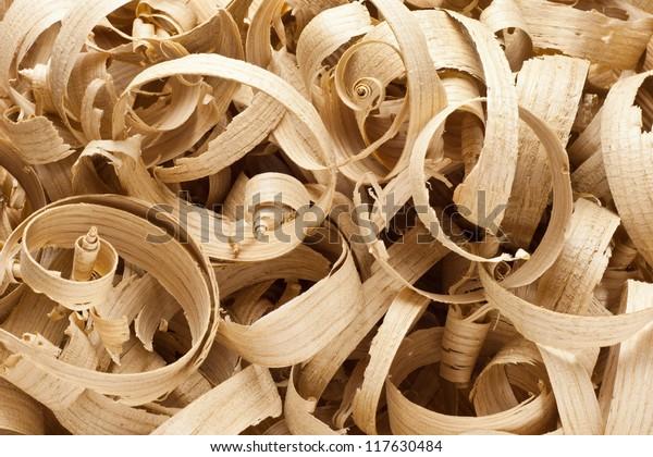 Large Wood Planer Shavings Background Stock Photo (Edit Now