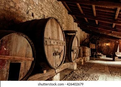 Large wooden barrels of wine. Toning