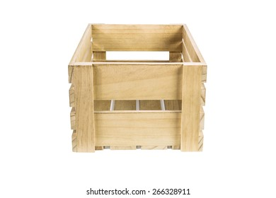 Large Wooden Crate On White Background   Side View