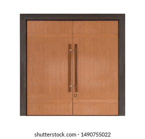 Large wooden double door isolated on white background, modern entrance hall doorway with wood texture style interior