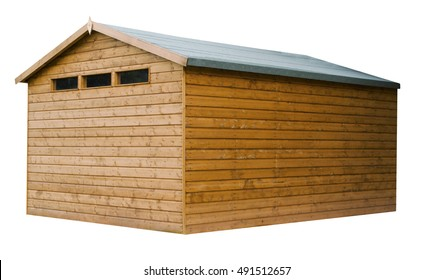 Large wooden garden shed stained with a natural finish on an isolated white background with a clipping path