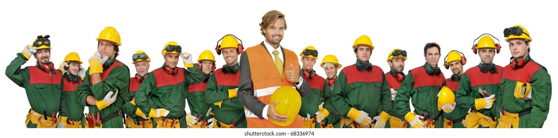 Large workers team isolated in white