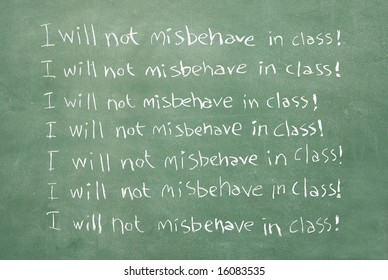 large XXL image of an old chalkboard with the sentence I will not misbehave in class written over and over again