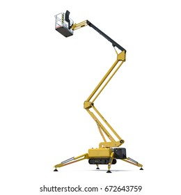 large yellow extended scissor lift platform on white. 3D illustration, clipping path