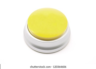 Large Yellow push button photographed on a white background ready for your text.