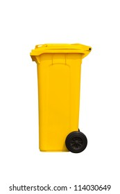 Large yellow trash can (garbage bin) with wheel, side view, isolated on white background