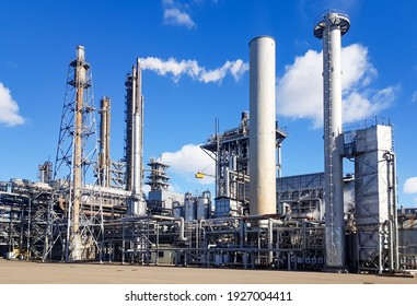 Large-capacity workshop for the production of ammonia of a petrochemical plant. Exterior of tube furnace, Shaft converter, CO2 adsorber with copy space