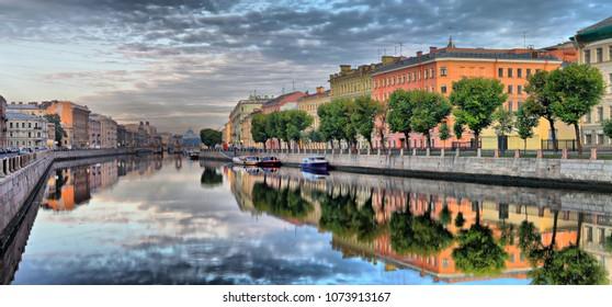 Large-format panorama of Fontanka river Embankment and Lomonosov bridge in St. Petersburg at dawn