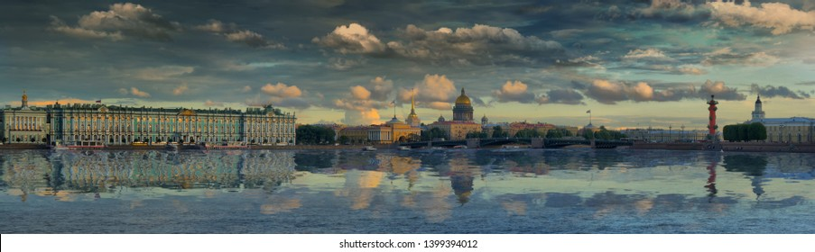 Large-format panorama of the Palace bridge, the Hermitage, St. Isaac's Cathedral, the Admiralty and the Rostral column on the background of the Neva river in St. Petersburg