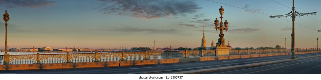 Large-format panorama of the Trinity bridge and the Peter and Paul fortress in St. Petersburg at dawn