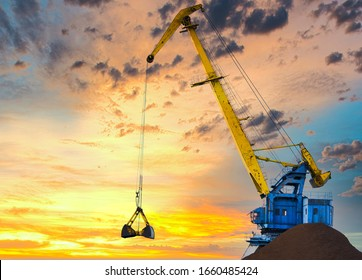 Larger cranes in the port, cranes load bulk materials. The work of cranes in the seaport