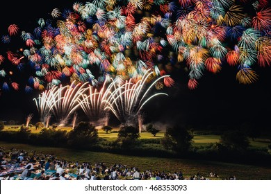 The largest and amazing fireworks event 2016 summertime in Koga, Kanto of Japan with 25,000 shots