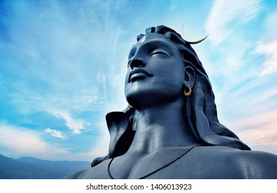 """Largest Bust Sculpture"""" in the world. 112 Feet adiyogi shiva statue at Coimbatore in the Indian state of Tamil Nadu,"""