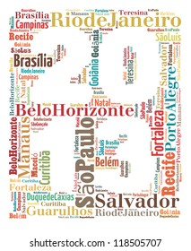 Largest cities or towns of Brazil info-text graphics composed in 2013 sign shape concept on white background  (word cloud)